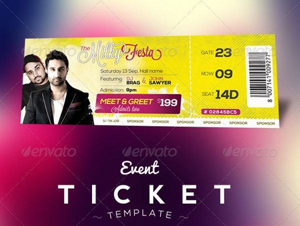 Free Download  Event Tickets Template (PSD) Events, Ticket - event tickets template