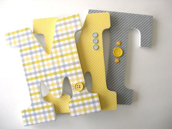 Childrens Room Decor Yellow And Gray Grey Custom Wood Letters