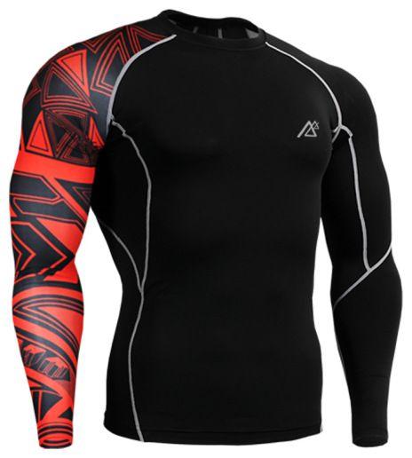 Mens Compression Shirt Long Sleeves Base Layer Skin Fit Running Gym Yoga Tights