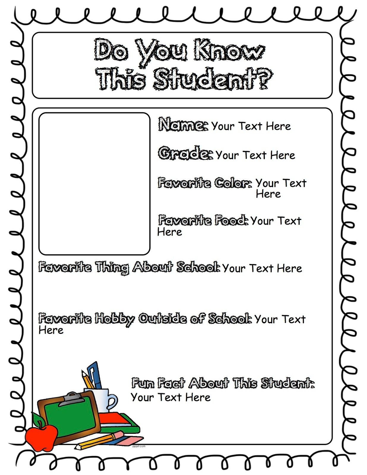 Student Newsletter Page Student Fun Facts Teaching [ 1600 x 1236 Pixel ]