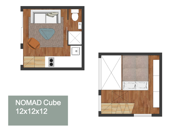 Upper and lower floor plan of the NOMAD CUBE 12 x 12 tiny home ... on adult loft, decorating a small loft, micro house interior, homes with a loft, tiny cottage with loft, new york loft, barn home designs with loft, micro mobile home floor plans, modern urban loft, micro tiny house plans, micro house plans and designs, micro house floor plans, small house with loft, micro house on trailer, micro housing seattle, micro homes living, home office in loft, micro small house plans, japanese mini loft, industrial loft,