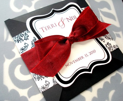 Red Black And Silver Wedding Invitations: To The Bride And Groom: Red, Silver, White & Black Wedding