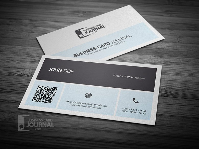 Free Simplistic Metro Business Card Template With Qr Code With