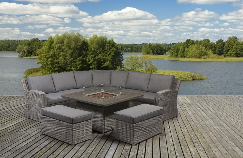 Garden Sofa Sets With Fire Pit Table In 2020 Garden Sofa Set Outdoor Sofa Sets Fire Pit Sets