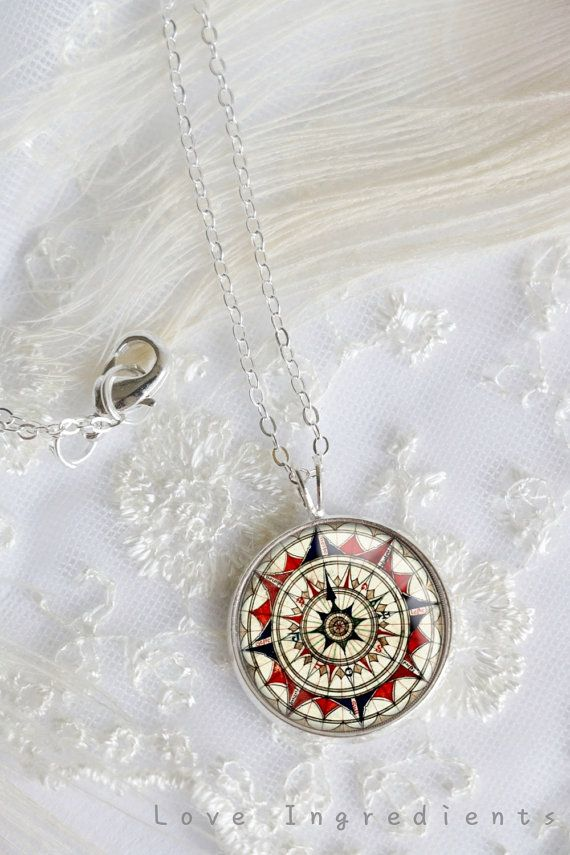 Vintage Compass Necklace Compass jewelry Silver by LoveIngredients