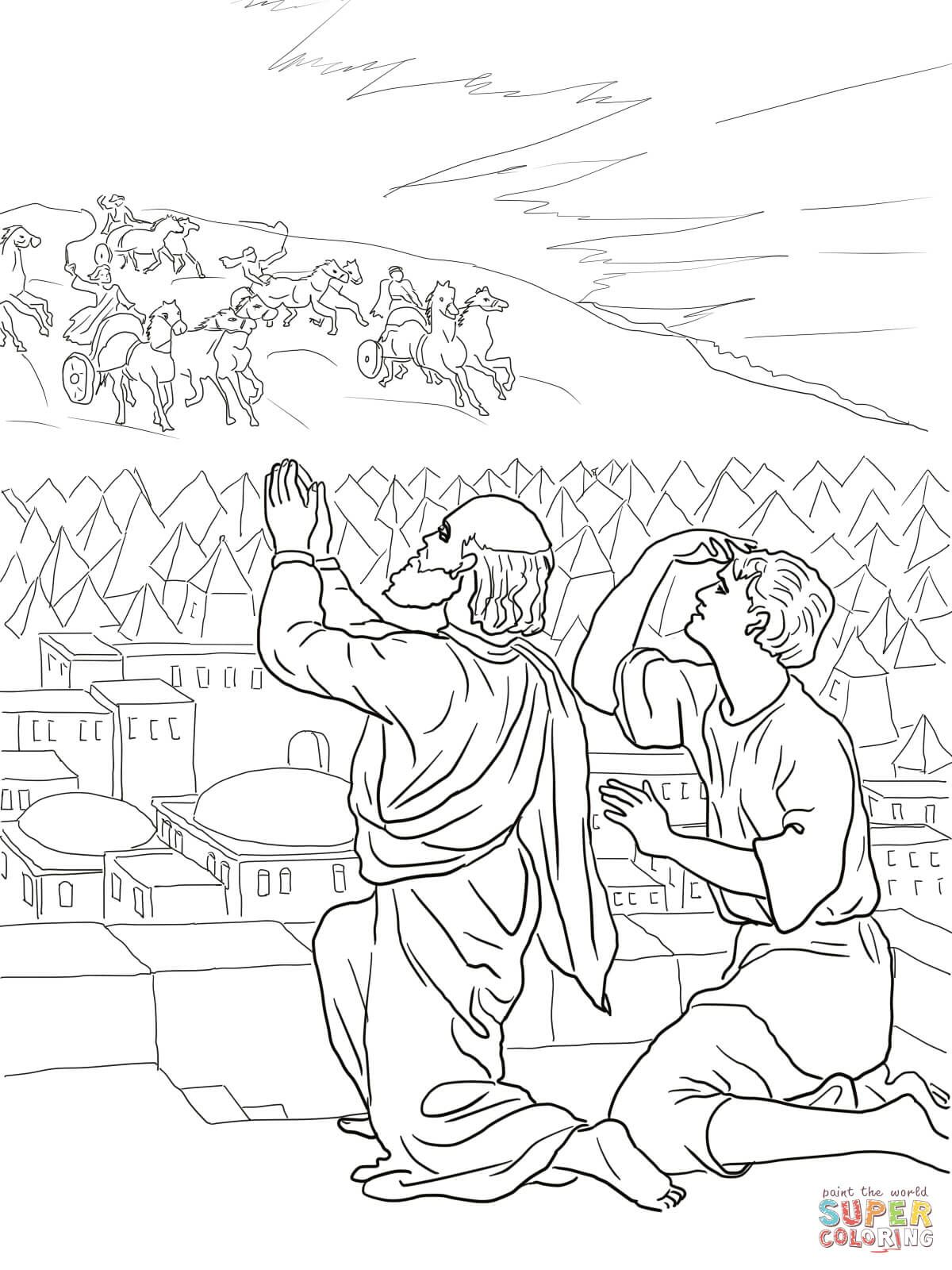 Elisha Fiery Army Coloring Page Free Printable Coloring