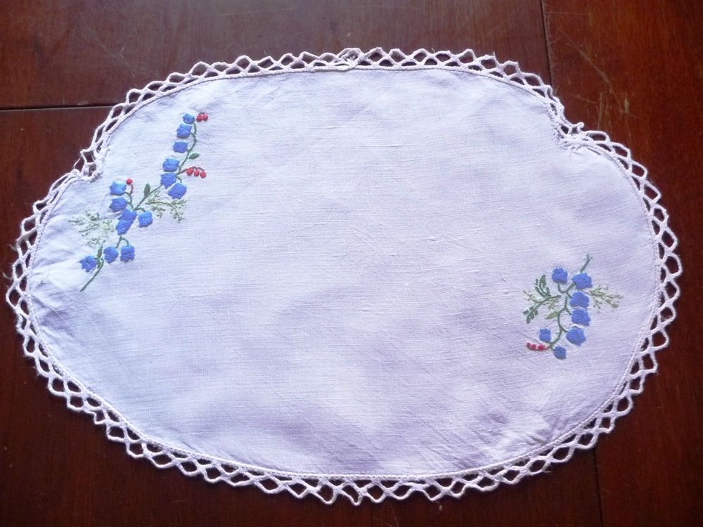 Gorgeous Vintage Hand embroidered Linen Traycloth or Centrepiece - Odd shape