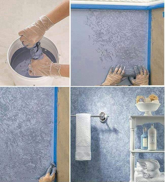 Painting Texture With A Plastic Bag Diy Wall Painting Wall