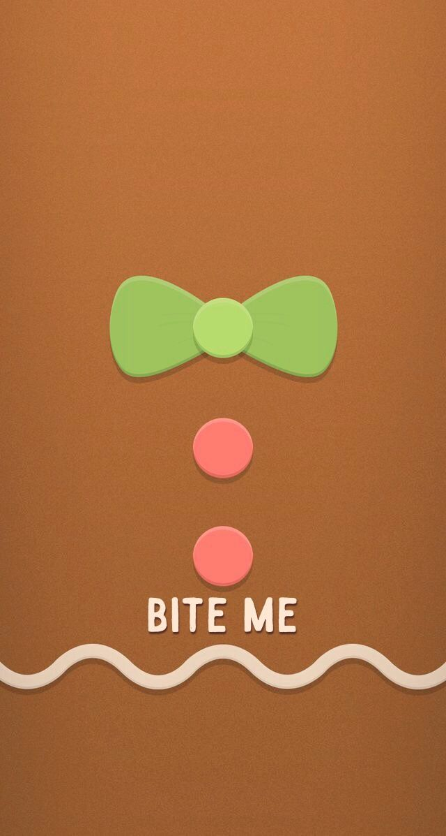 Christmas IPhone Wallpaper Background Holiday Gingerbread Gingy Bite Me Man