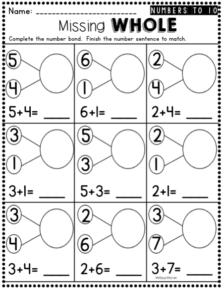 Kindergarten Number Bonds Worksheets to 10 | Kindergarten Kolleagues ...
