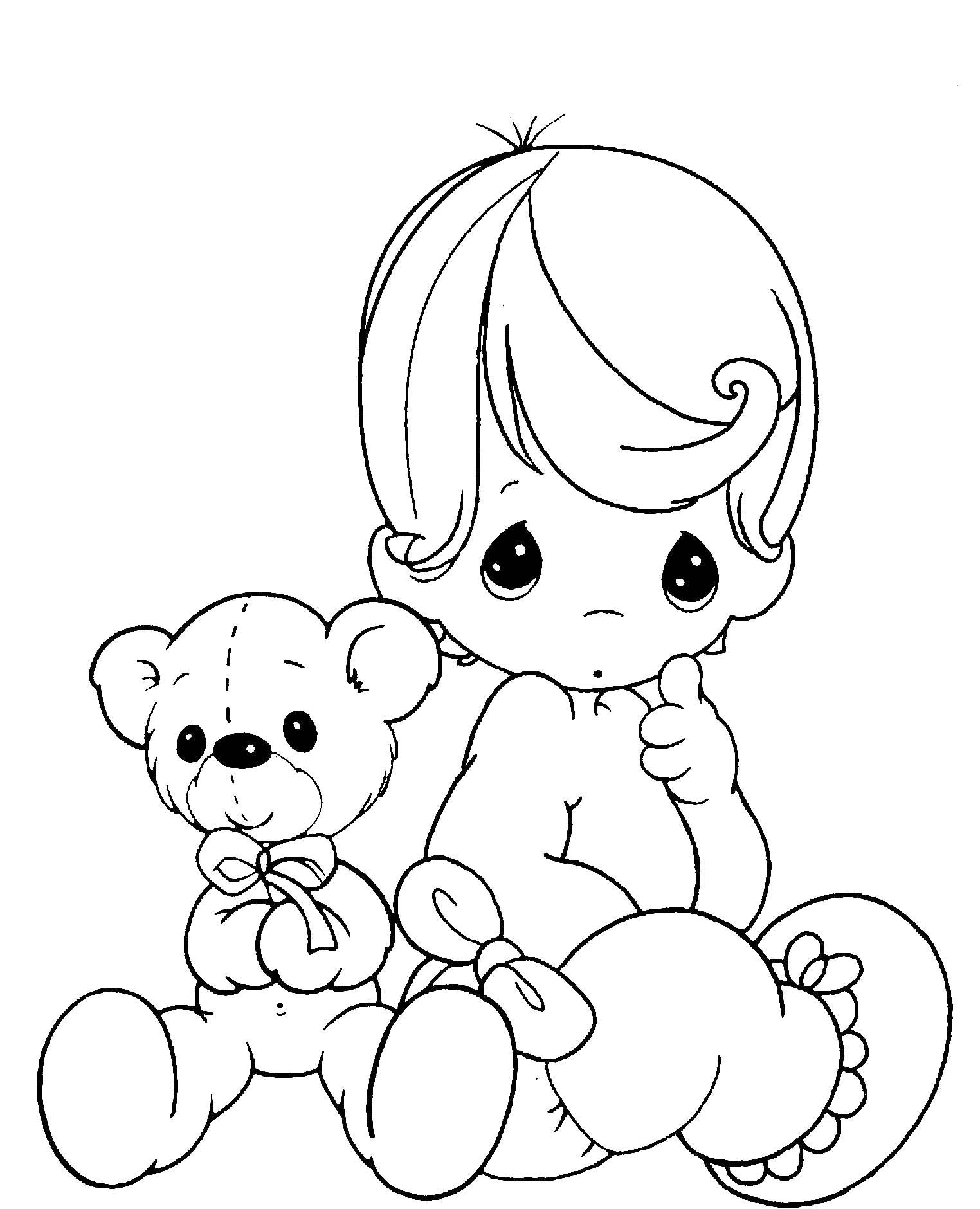 Baby And Teddy Bear Precious Moments Coloring Page Free Download ...
