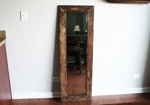 Turn a cheap full length mirror into a beautiful accent piece ...