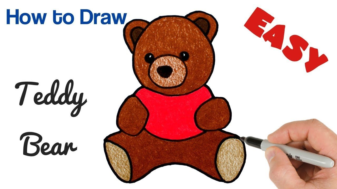 How To Draw A Cartoon Bear Holding A Balloon Floating Up Easy From Letter B Easy Step By Step Drawing Tutorial For Kids How To Draw Step By Step Drawing Tutor