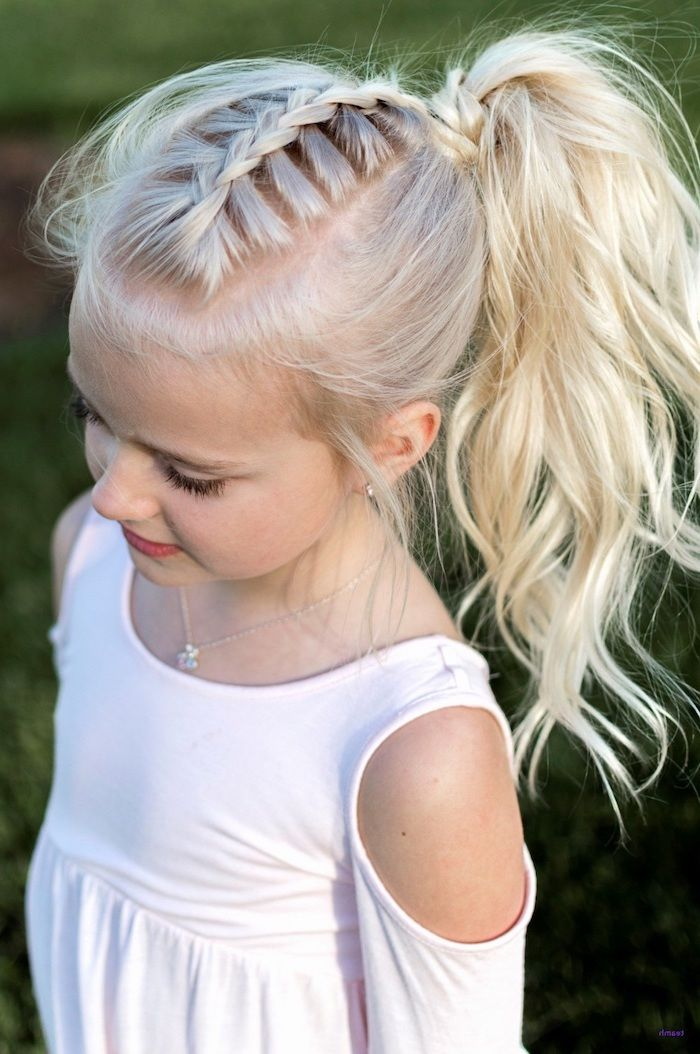 Blonde Hair Braid High Ponytail Cute Hairstyles For Girls White Dress In 2020 Easy Little Girl Hairstyles Girls Hairstyles Easy Girl Haircuts