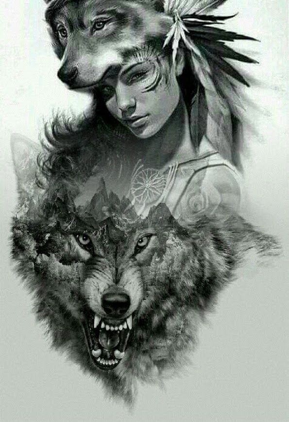 Pin By Megland On Wolf Native American Girl Tattoo Native American Wolf Wolf Tattoo Design