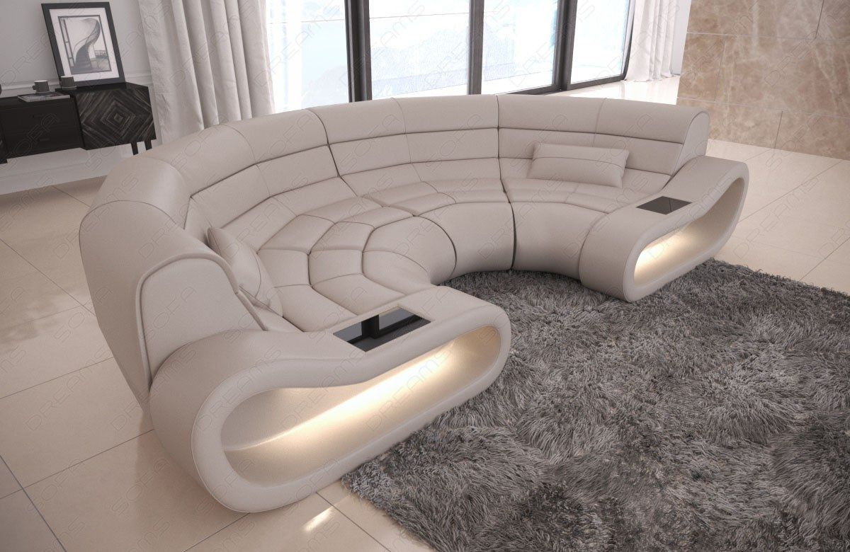 Sectional Corner Sofa Concept C Shape With Led Genuine Leather