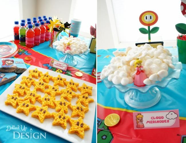 Boys Mario Bros Video Game Birthday Party Food treat Ideas Mario