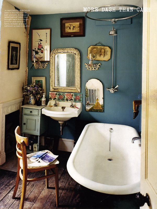 Jo Kornstein's bathroom as featured in Vogue UK -- I love the makeshift backsplash of Indian tiles and the roll-top tub and sink