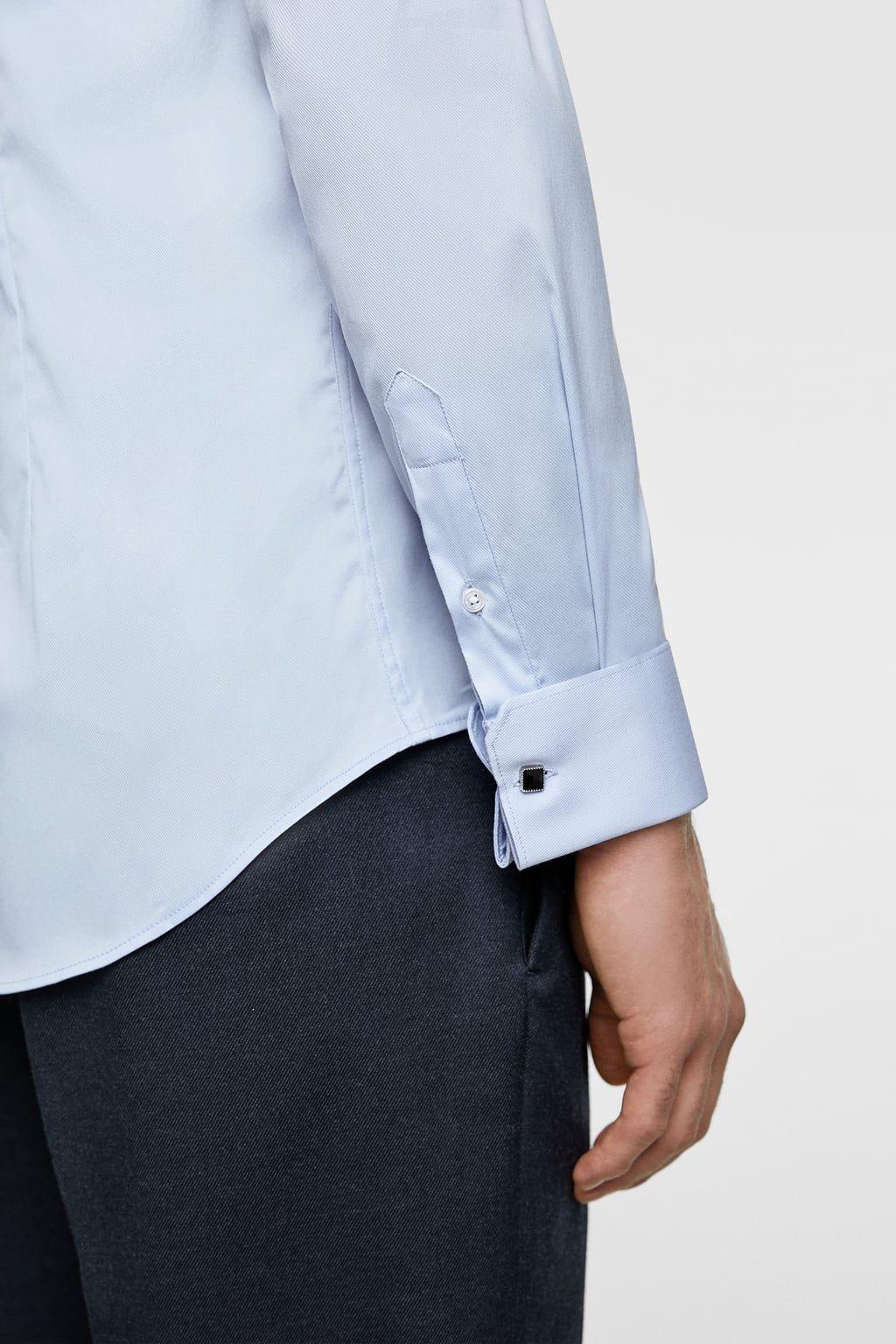 Heren Overhemd Met Manchetknopen.Overhemd Met Structuur En Manchetknopen Effen Overhemden Heren