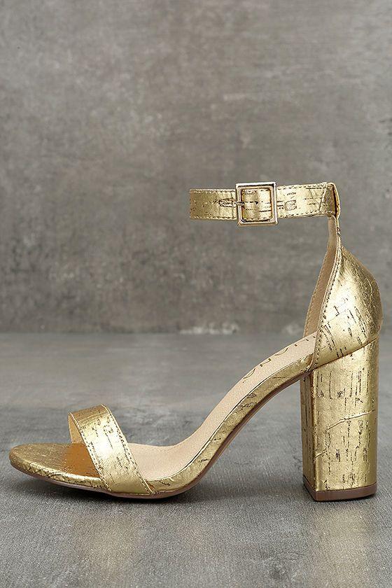 #AdoreWe #Lulus Designer Footware - Designer liliana Morela Gold Cork Ankle Strap Heels - AdoreWe.com