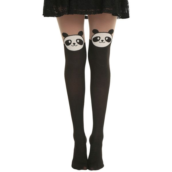 32f8eba83f0 Hot Topic LOVEsick Panda Faux Thigh High Tights ( 10) ❤ liked on Polyvore  featuring intimates