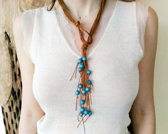 Ocean blue turquoise beaded leather necklace for women, long boho multi strand fringe necklace lariat, bohemian western jewelry, hippie chic – My next big project