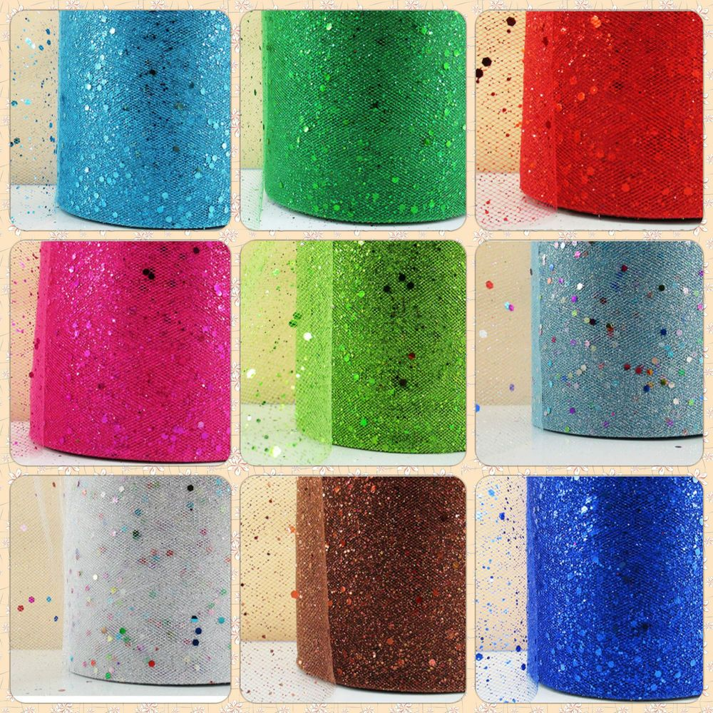 TULLE 6 (15 cm) x 1m Metre Sparkle Glitter tutu Ribbon Lace Wedding Bow Craft