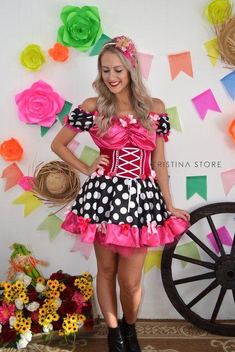 bc9c8ab91 Vestido Poá Pink Julia - Caipira Chic - comprar online Look Festa Junina