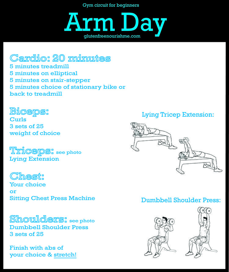Gym Circuit For Beginners Arm And Upper Body Workout Chart Gluten Free Nourish Me Upper Body Workout Fitness Body Body Workout At Home