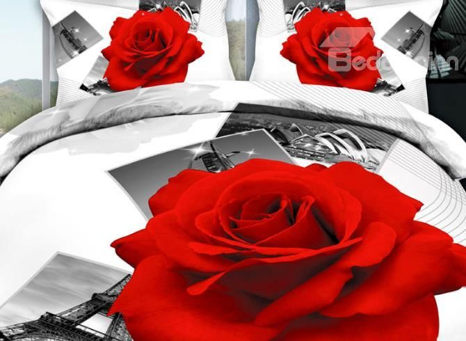 3d Red Rose And Photos Printed Cotton 4 Piece Bedding Sets Duvet