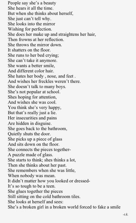 Beauty has flaws. This poem sounds different when read