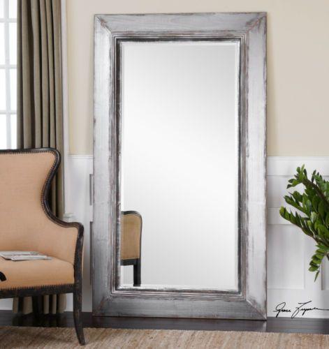 Gray Wall Mirror oversized silver gray floor mirror full length leaner dressing