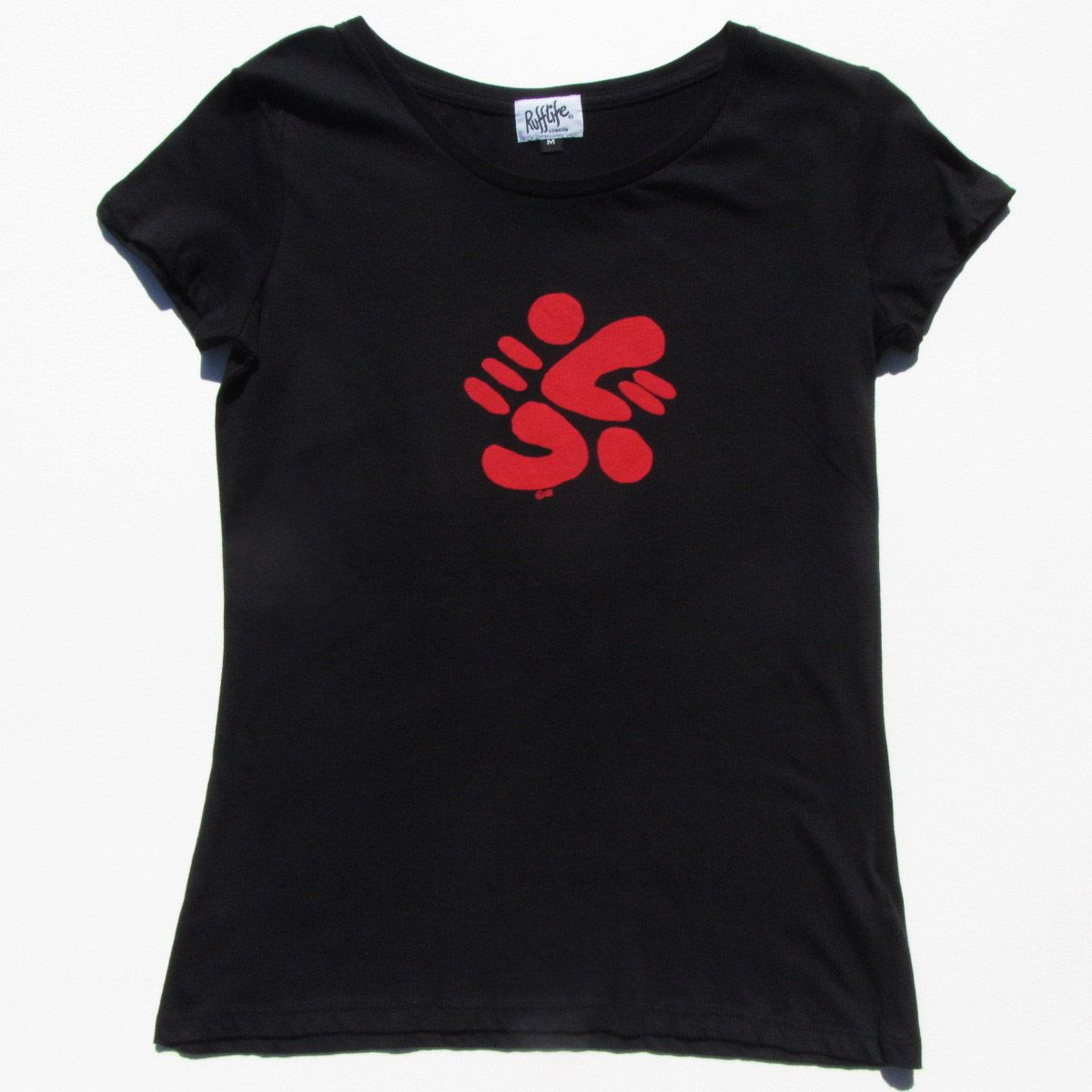 Splodge on women's black t-shirt