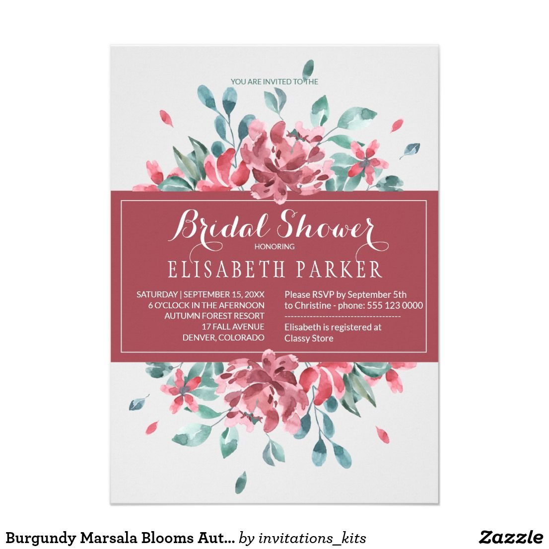 Burgundy Marsala Blooms Autumn Bridal Shower Invitation | Bridal ...