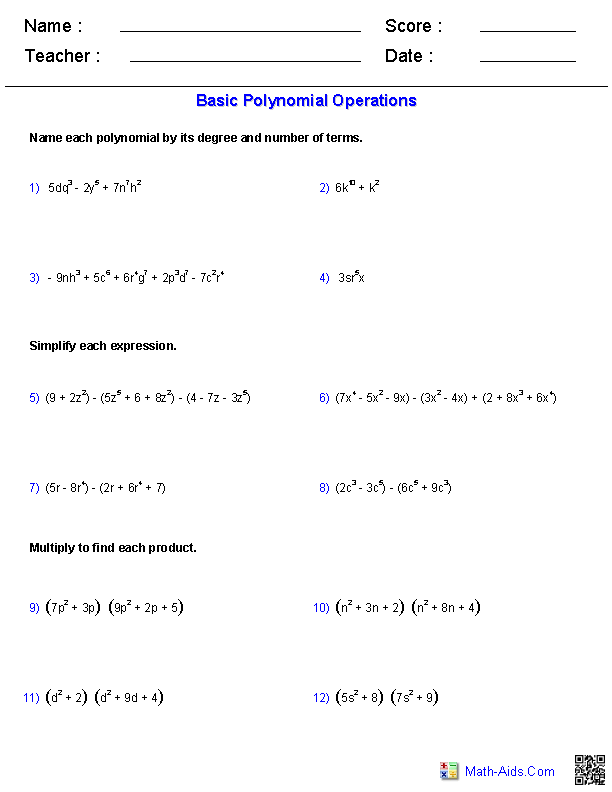 {Polynomial Functions Worksheets Algebra 2 Worksheets – Operations with Polynomials Worksheet