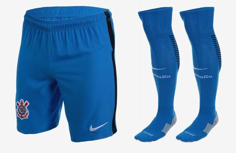 Terceira camisa do Corinthians 2016-2017 Nike Azul calção 8f2c3810d6080