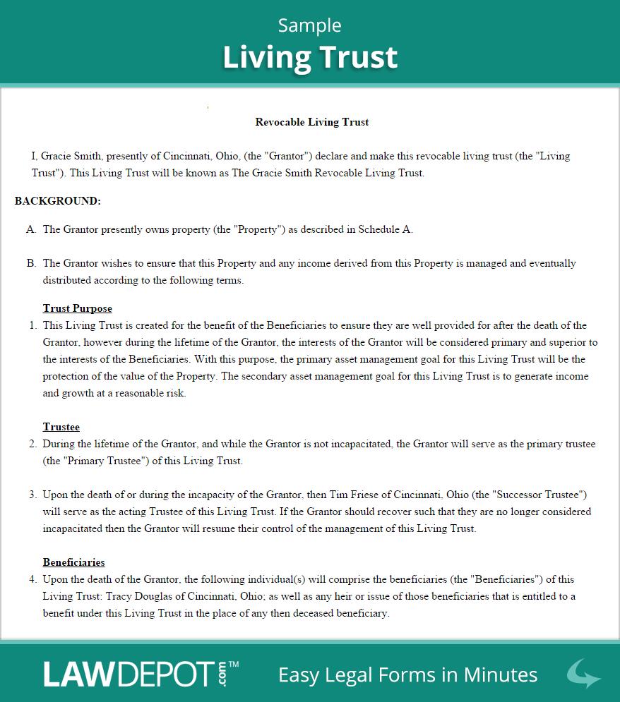 Living Trust Sample Revocable living trust, Living trust
