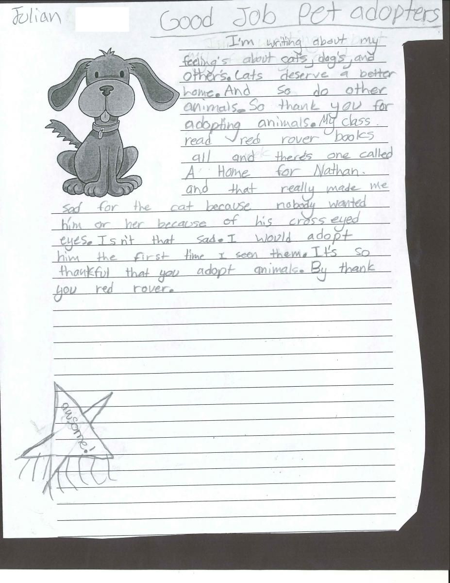 Young Animal Lover Writes Thank You Letter To Animal Adopters