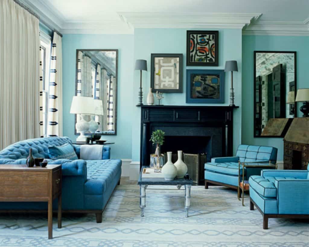 Coastal Living Room With Monochromatic Color Schemes And Blue Oversized Chairs : House Interior With Monochromatic Color Schemes : monochromatic-color-scheme-room - designwebi.com