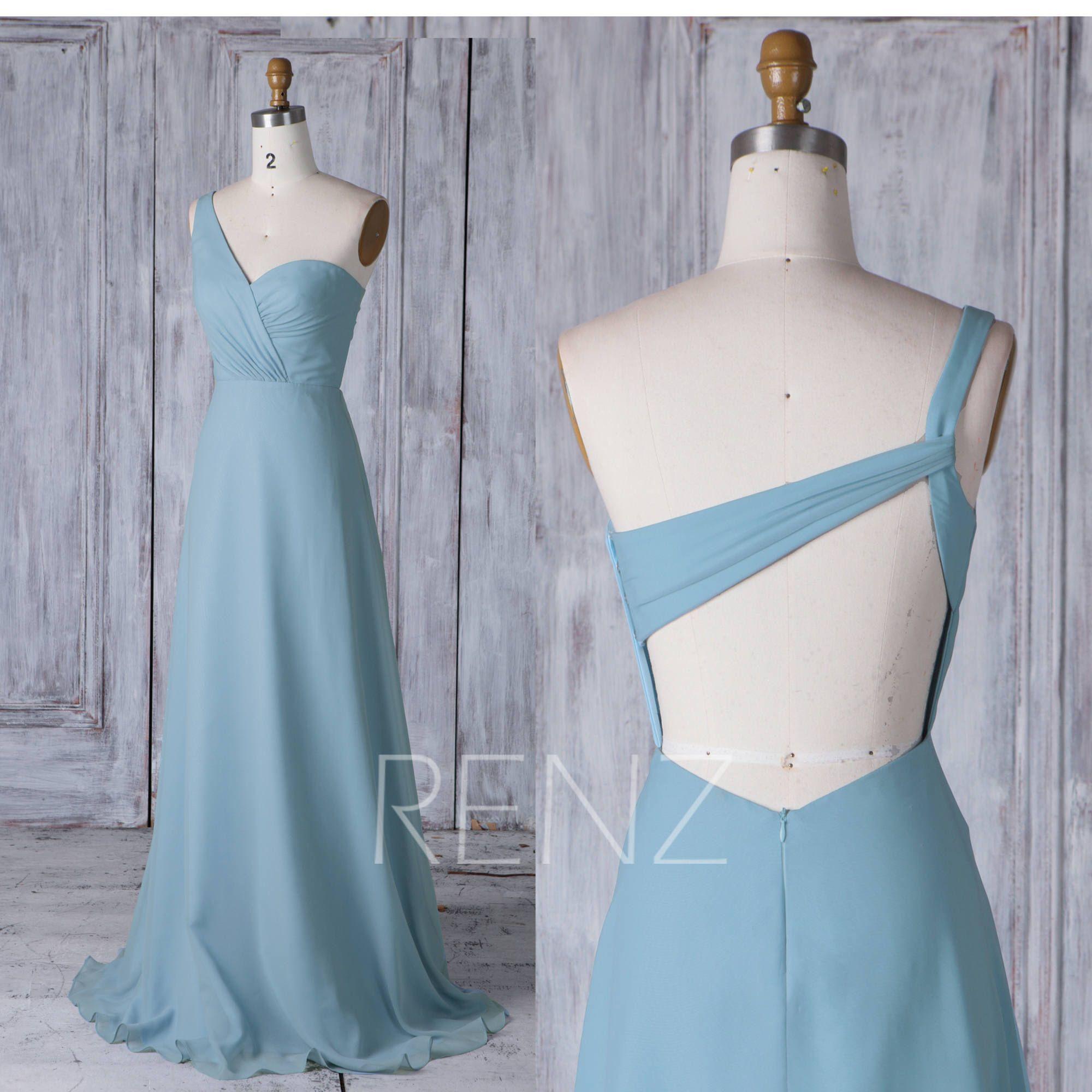 dusty blue chiffon bridesmaid dress long one shoulder wedding