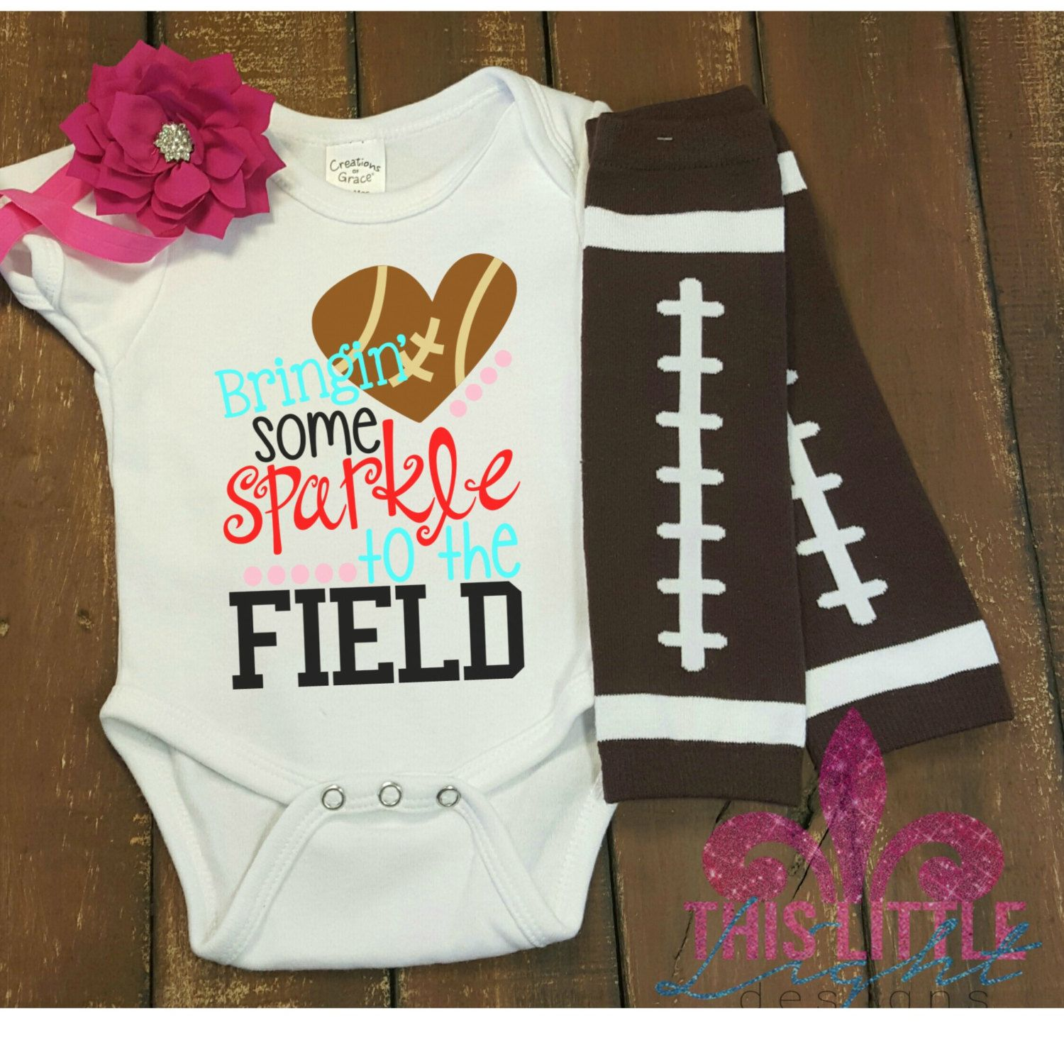 Baby Girl Outfit Football Game Shirt Bringing Some Sparkle To The Field Toddler Shirt Little Sister S Mom And Me Shirts Cute Outfits For Kids Toddler Shirt
