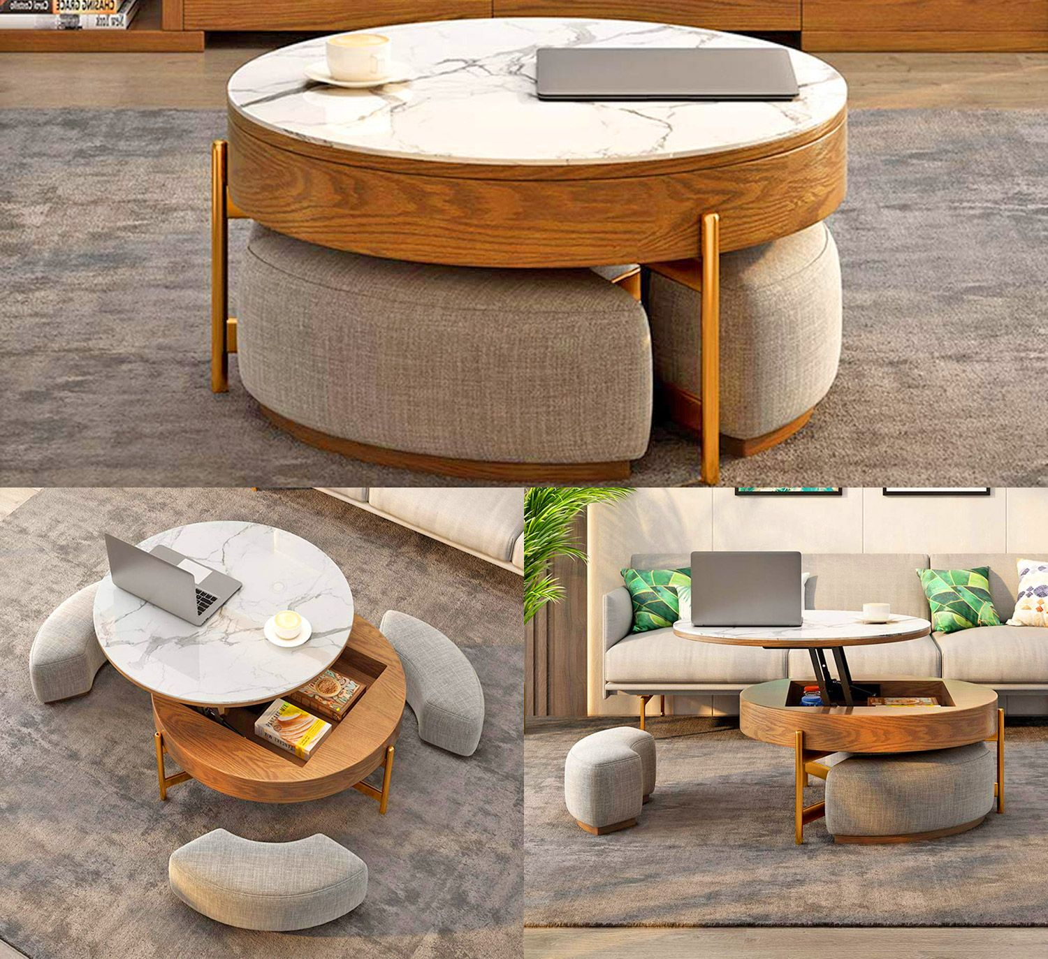 This Amazing Rising Coffee Table Has 3 Integrated Ottomans That Hide Underneath It Living Room Ottoman Coffee Table Diy Furniture Table Ottoman In Living Room
