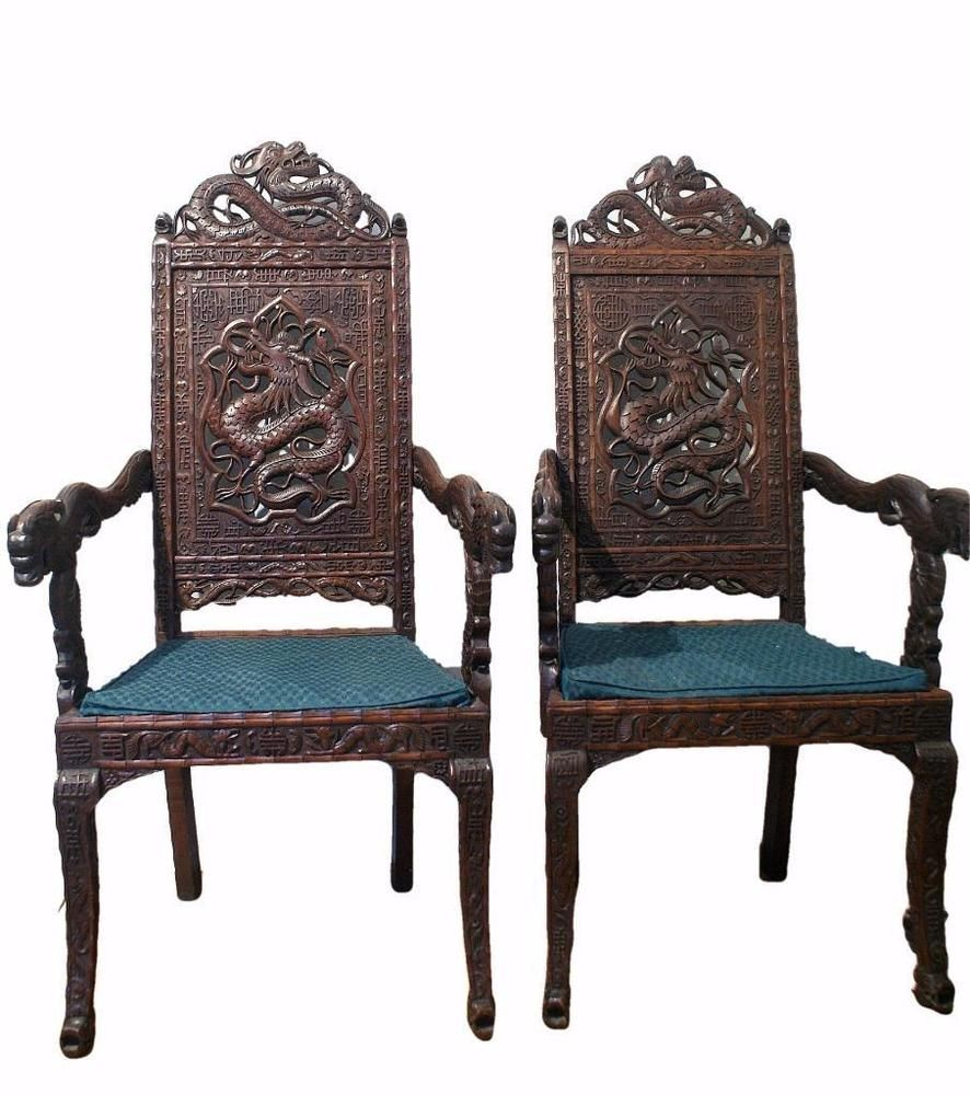 A Fabulous Pair Of Antique Kashmiri Hand Carved Throne Chairs Each Has Been Beautifully Extensively In Chinese Style
