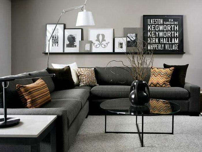 designermöbel sofa schwarz eckcouch | wohnzimmer || interior ... - Wohnzimmer Ideen Schwarzes Sofa