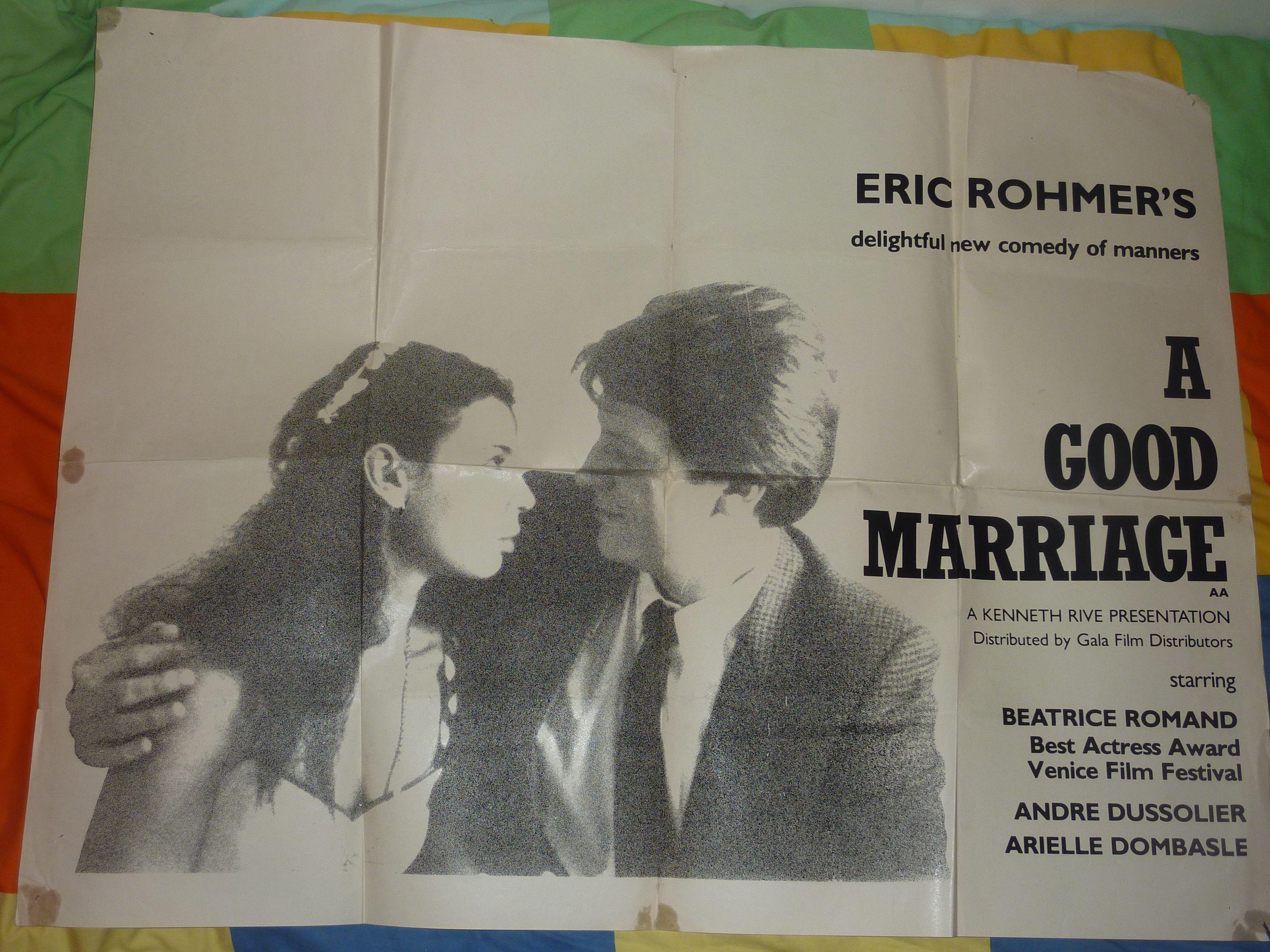 Uk Quad for A Good Marriage (1982). Director: Eric Rohmer  Stars: Béatrice Romand, André Dussollier, Féodor Atkine