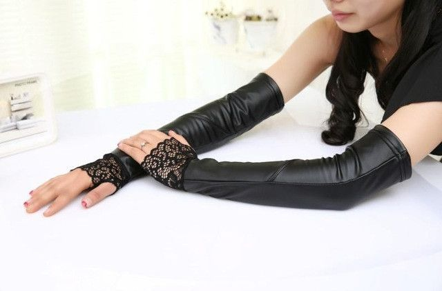 Women sexy black pu arm warmers lace gloves long arm sleeves pu leather arm cover arm