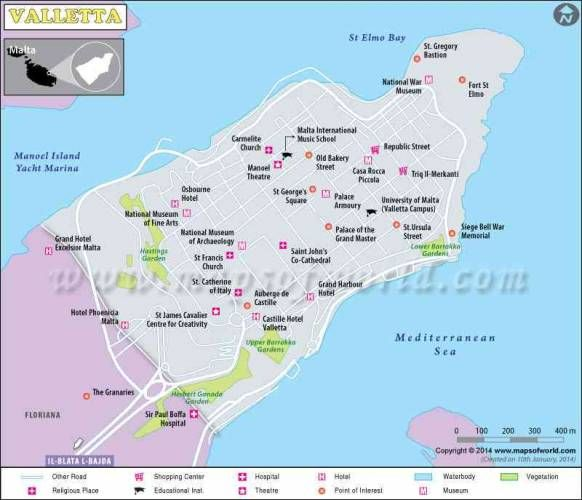 nice Valletta Map Holidaymapq Pinterest Malta valletta Malta