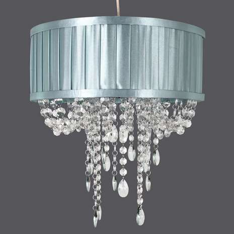 Fashioned with a satin duck egg shade with cascading clear acrylic fashioned with a satin duck egg shade with cascading clear acrylic jewels this elegant ceiling pendant shade will add a touch of luxury to any interior mozeypictures Image collections