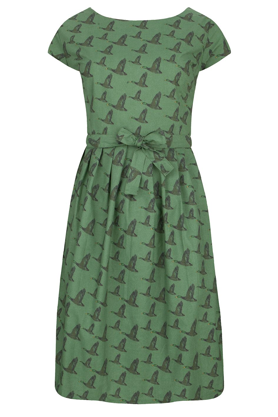 This forrest green Dress with a fun flying duck-print has a round ...