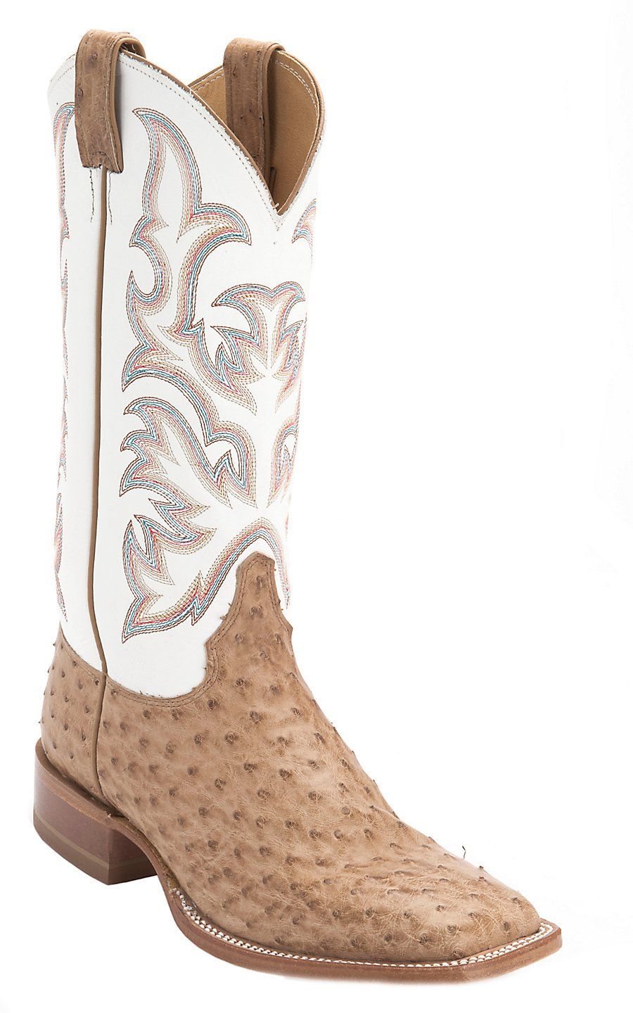318544dbeae Justin AQHA Remuda Men's Brown Full Quill Ostrich with White Top ...
